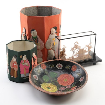 Chinese Paper Boxes with Painted Wooden Dish and Diorama