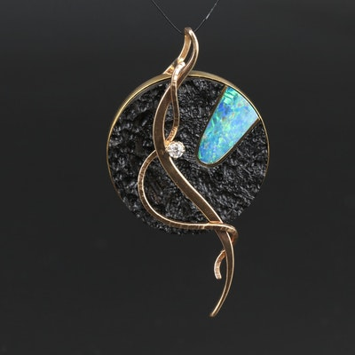 14K Diamond and Opal Doublet Textured Circular Pendant