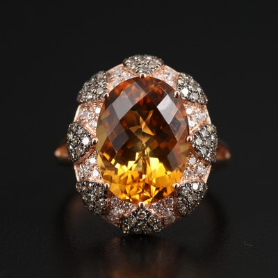 BH 14K Rose Gold Citrine and Diamond Ring