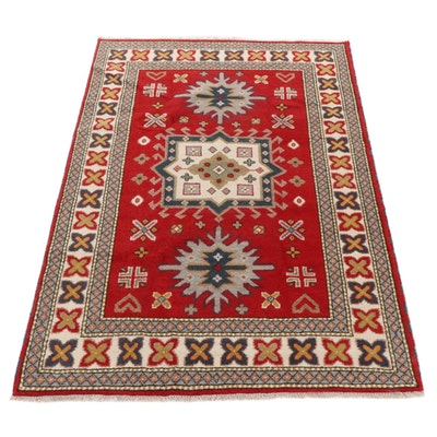 5'7 x 8' Hand-Knotted Indo-Caucasian Kazak Rug, 2010s