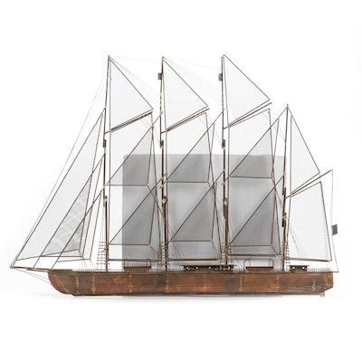 Curtis Jere Mixed Metal Four Masted Schooner Wall Sculpture, Late 20th Century