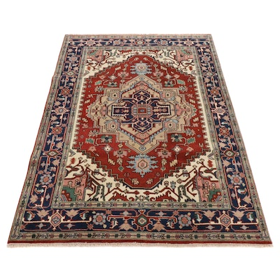 6' x 8'9 Hand-Knotted Indo-Persian Heriz Serapi Rug, 2010s