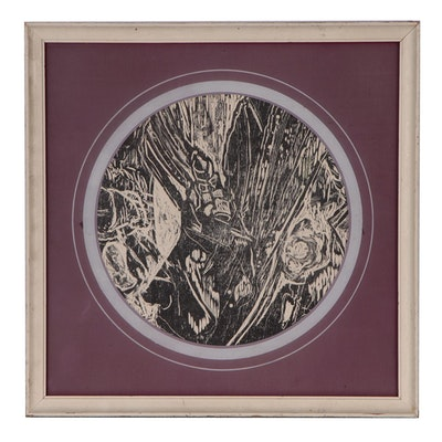 Oscar Murillo Abstract Woodcut, Late 20th Century