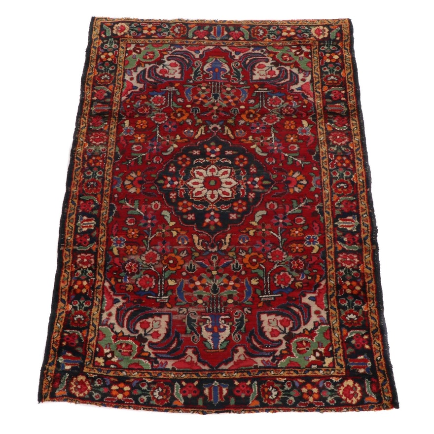 3'5 x 5' Hand-Knotted Persian Lilihan Rug, 1920s