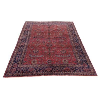 9' x 11'7 Hand-Knotted Turkish Oushak Rug, 1920s