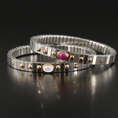 Stainless Steel Expandable Bracelets with 18K, Mother of Pearl and Ruby Accents