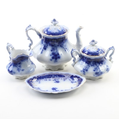 "Johnson Brothers ""Clayton"" Flow Blue Tea Service, Early 20th Century"