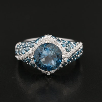 14K Blue Topaz and 1.48 CTW Diamond Ring