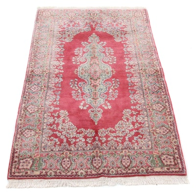 4' x 7'2 Hand-Knotted Persian Kerman Wool Rug