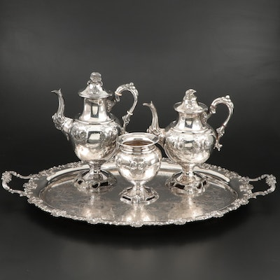 English Silver Plate Butler Tray and Other Floral Repoussé Coffee and Tea Set