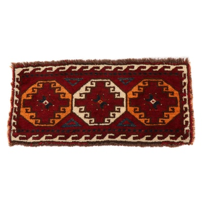 1'4 x 2'9 Hand-Knotted East Turkestan Turkoman Rug, 1940s