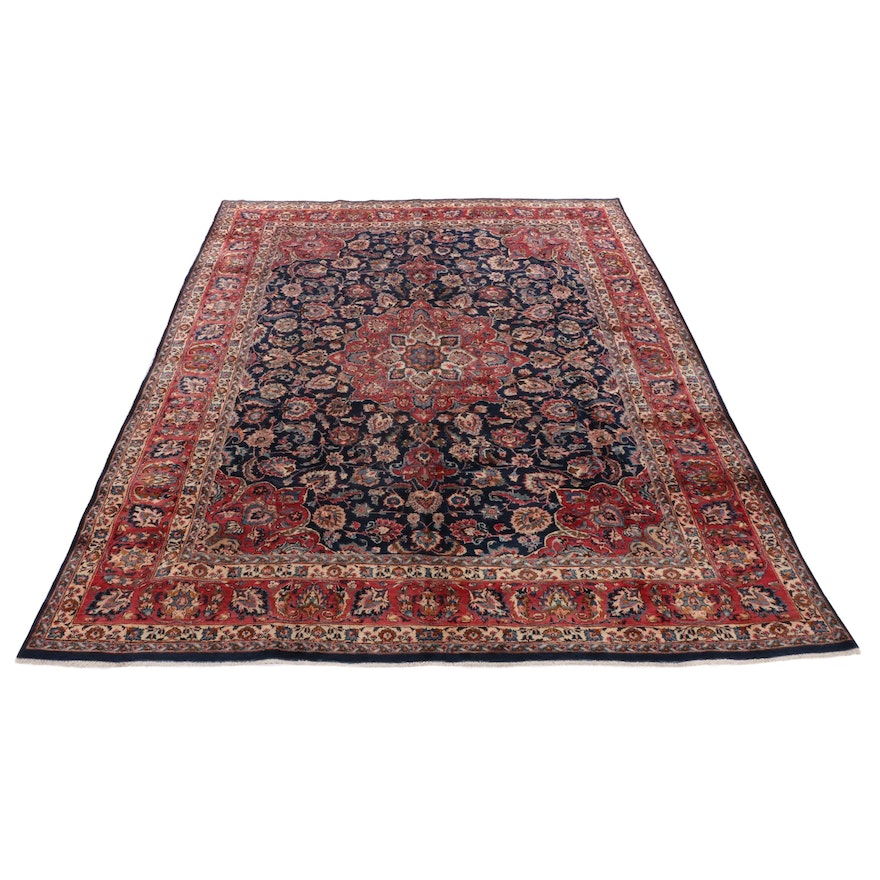 10' x 12'8 Hand-Knotted Persian Kashmar Rug, 1970s
