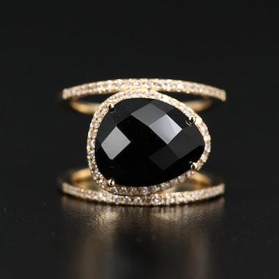 EFFY 14K Black Onyx and Diamond Split Shank Ring