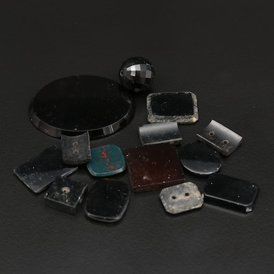 Loose Button and Intaglio Gemstones Including Sard, Bloodstone and Onyx