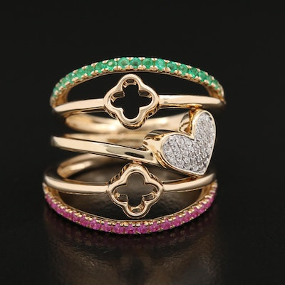14K Ruby, Emerald and Diamond Soldered Rings with Quatrefoil and Heart Details
