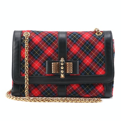 Christian Louboutin Sweet Charity Shoulder Bag in Tartan Wool and Leather
