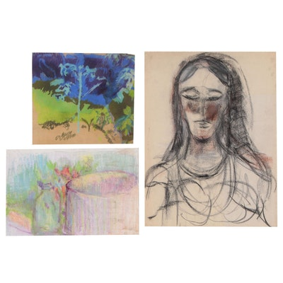 Oscar Murillo Abstract Pastel Drawings