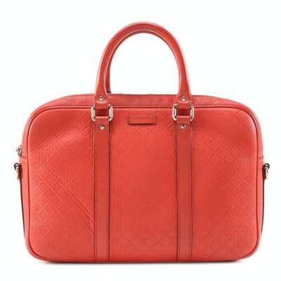 Gucci Convertible Briefcase in Bright Diamante and Smooth Leather