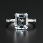 EFFY 14K 3.90 CT Aquamarine Ring with Diamond Shoulders