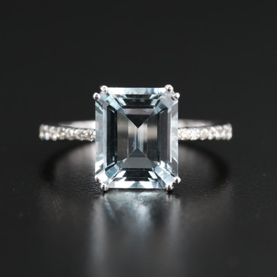 EFFY 14K 3.90 CT Aquamarine Ring with Diamond Shoulders