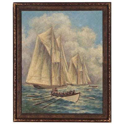 Nautical Oil Painting in the Style of Gordon Hope Grant