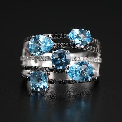 BH 14K Blue Topaz and Diamond Multi-Row Ring