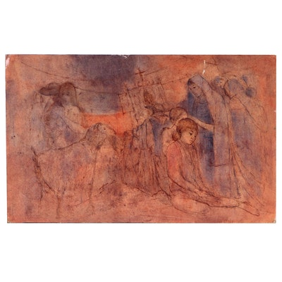 "Fernando Belain Mixed Media Painting ""Peregrinación"", 1958"