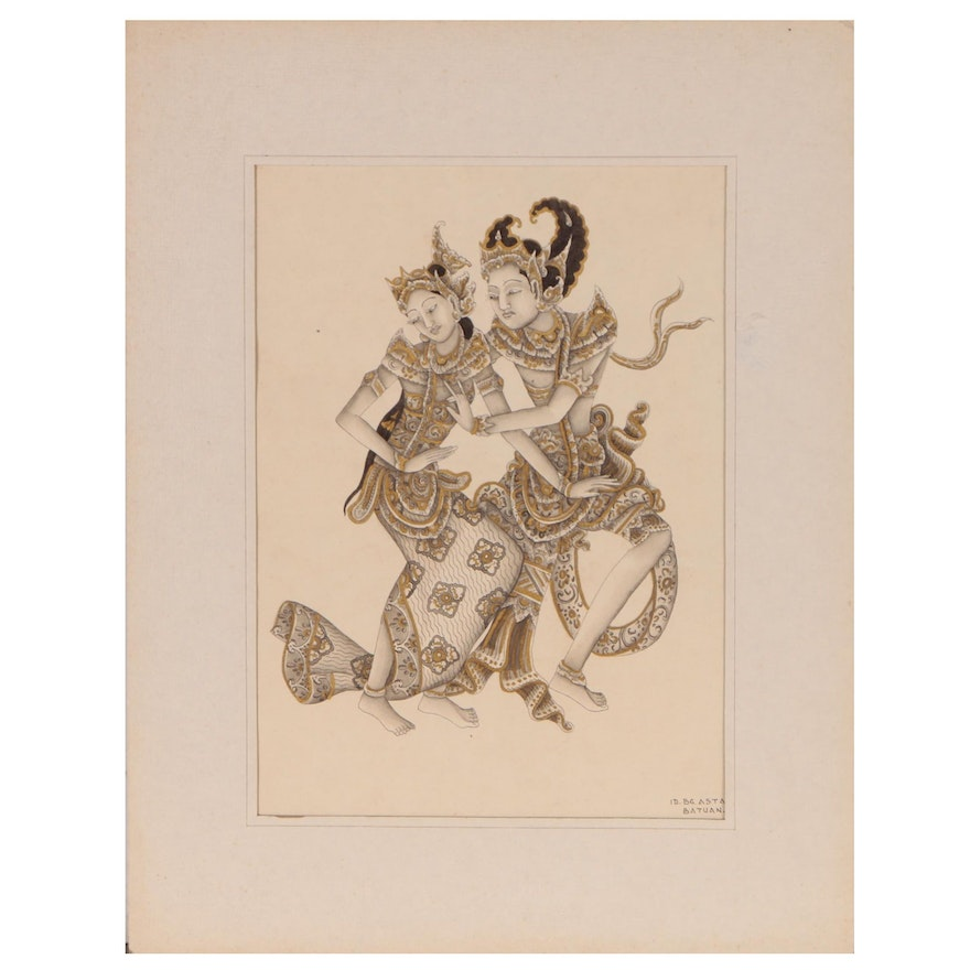 Mixed Media Painting of Balinese Dancers, 20th Century
