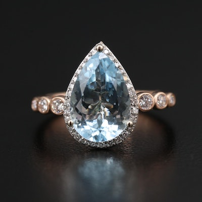 EFFY 14K Rose Gold 2.50 CT Aquamarine and Diamond Ring