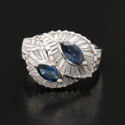 Platinum Sapphire and 1.12 CTW Diamond Bypass Style Ring
