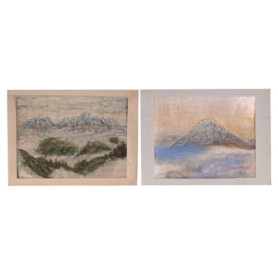 Mixed Media Mountain Landscape Paintings, Late 20th Century