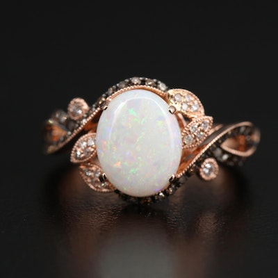 EFFY 14K Rose Gold Opal and Diamond Bypass Ring