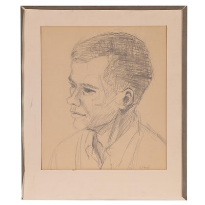 Graphite Drawing Portrait of a Man, 1961