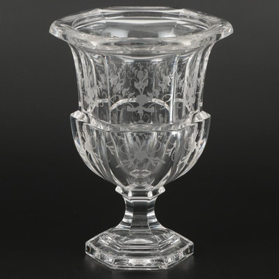 "Tiffany & Co. ""Biedermeier"" Etched Crystal Vase, Late 20th Century"