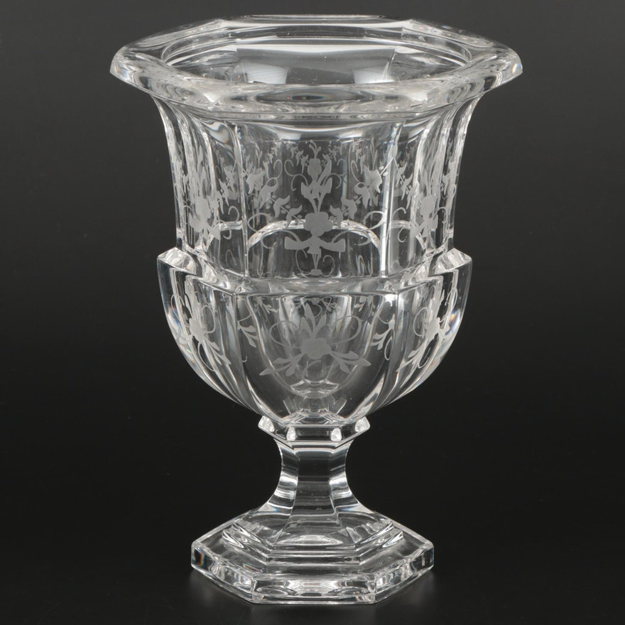 "Tiffany & Co. ""Biedermeier"" Etched Crystal Vase, Late 20th Century"