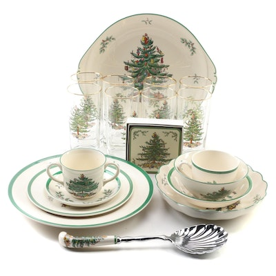 "Spode ""Christmas Tree"" Serveware and Glass Tumblers"