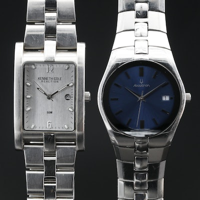 A Bulova Accutron and Kenneth Cole Reaction Stainless Steel Quartz Wristwatch