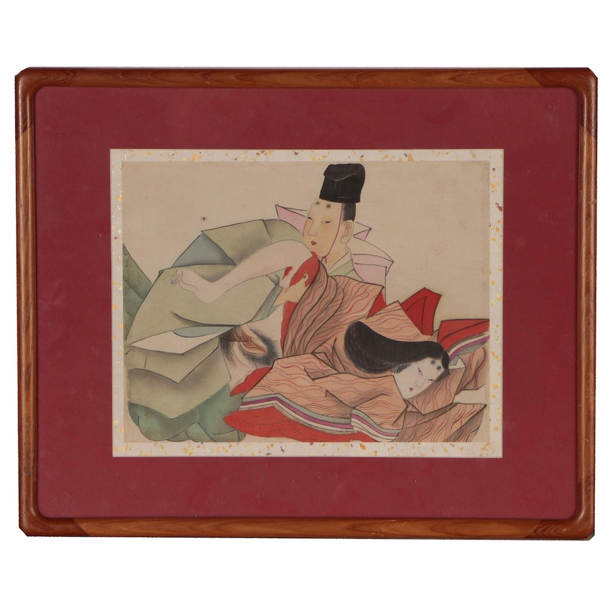 Japanese Shunga Ukiyo-e Woodblock Print, Early 20th Century