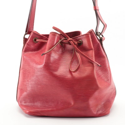 Refurbished Louis Vuitton Petit Noé Bucket Bag in Red Epi Leather