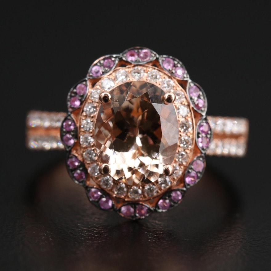EFFY 14K Rose Gold Morganite, Pink Sapphire and Diamond Ring