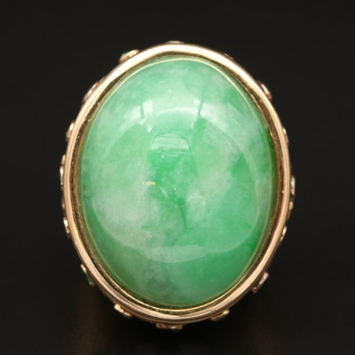 18K Jadeite and Tsavorite Ring