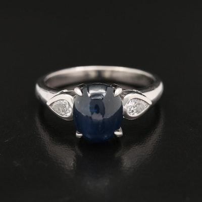 Platinum 4.24 CT Sapphire and Diamond Ring