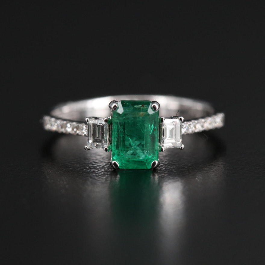 EFFY 14K Emerald and Diamond Ring