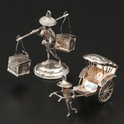 Sterling Silver Rickshaw and Merchant Figurines
