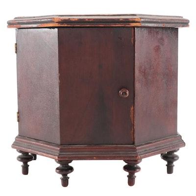 Pyrography Mahogany Veneer Octagonal Humidor Cabinet, Late 19th Century