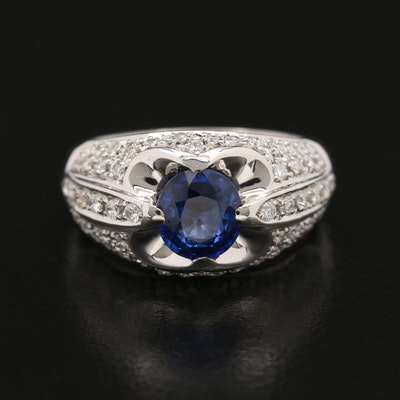 Platinum 1.65 CT Sapphire and Diamond Ring