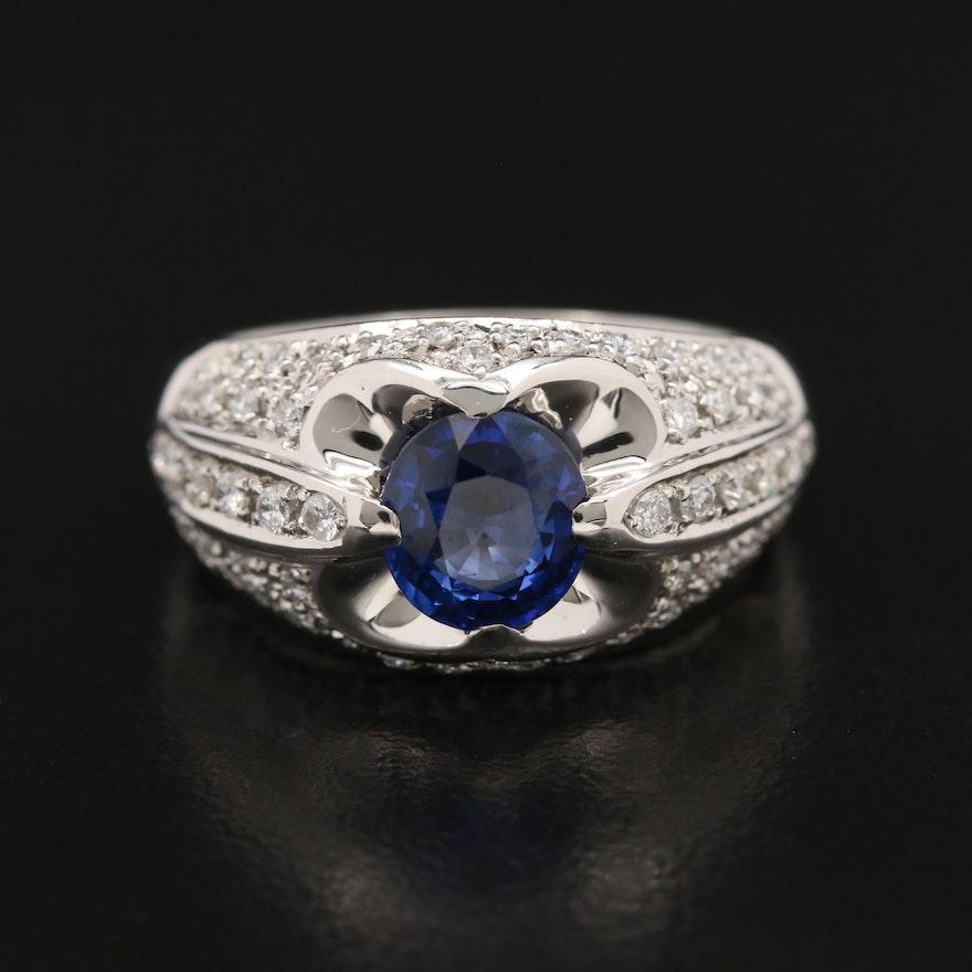 Platinum 1.65 CT Sapphire and Diamond Ring