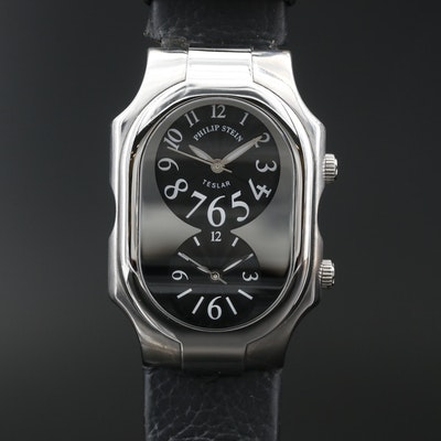 "Philip Stein ""Teslar Dual Time"" Stainless Steel Quartz Wristwatch"
