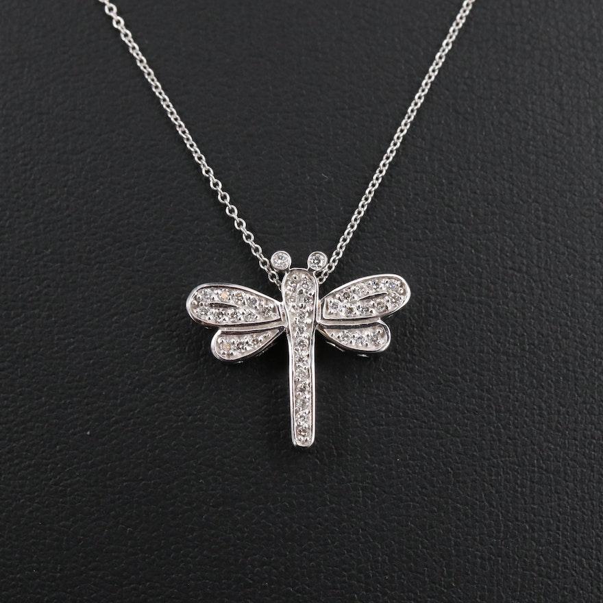 14K Diamond Dragonfly Pendant Necklace