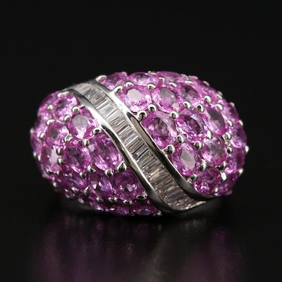 14K Gold Pink Sapphire and Diamond Wave Bombé Ring